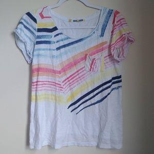 Little Yellow Button Anthro Rainbow Stripe T-Shirt